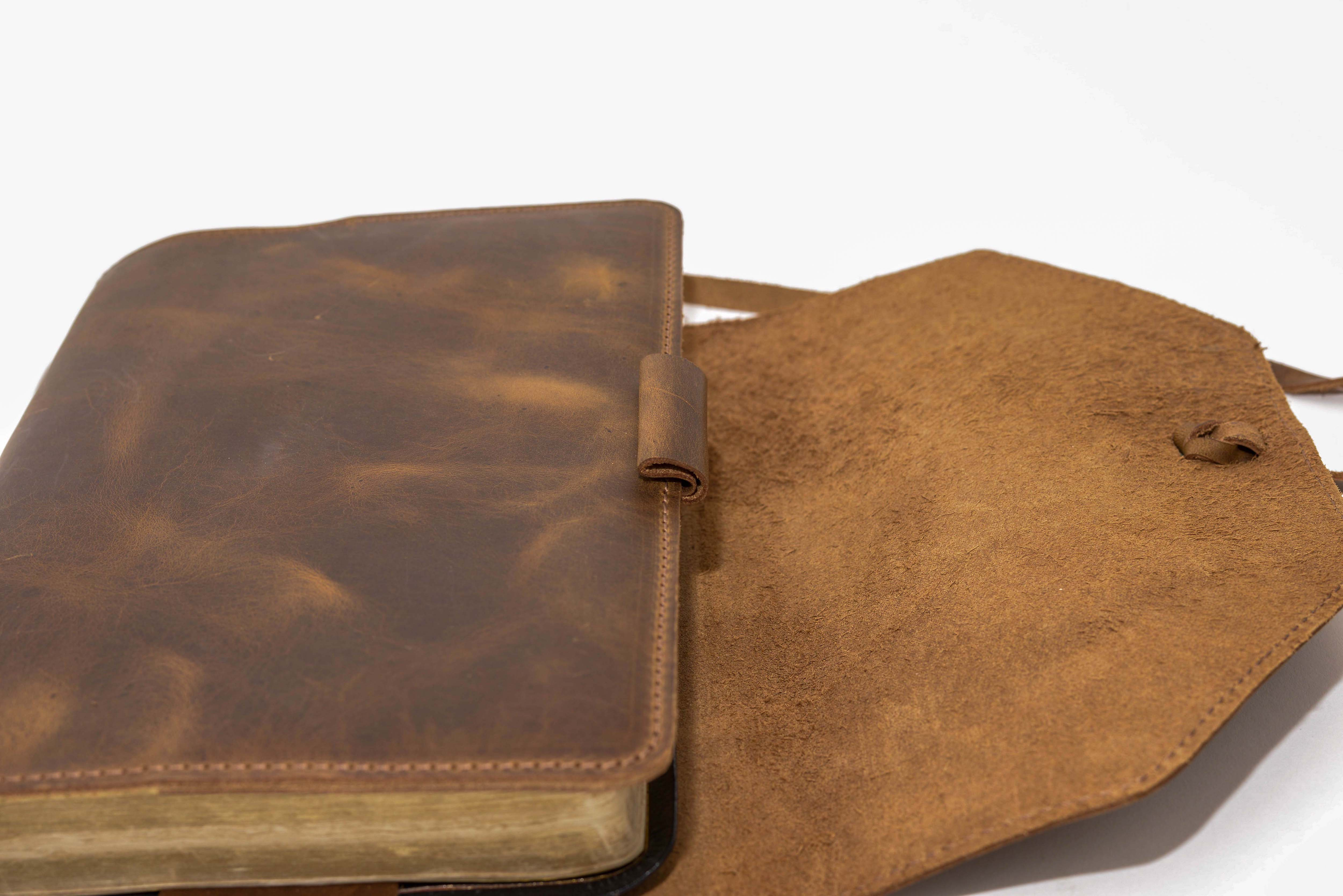 Leather Bible Cover W Adjustable Wrap Xl Narrow Gate